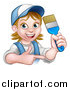 Vector Illustration of a Cartoon Happy White Female Painter Holding up a Brush and Pointing by AtStockIllustration