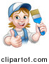 Vector Illustration of a Cartoon Happy White Female Painter in a Baseball Cap, Holding up a Thumb and Brush by AtStockIllustration