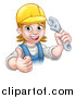 Vector Illustration of a Cartoon Happy White Female Plumber Holding an Adjustable Wrench and Giving a Thumb up by AtStockIllustration