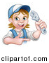 Vector Illustration of a Cartoon Happy White Female Plumber Holding an Adjustable Wrench and Pointing by AtStockIllustration