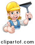 Vector Illustration of a Cartoon Happy White Female Window Cleaner in Blue, Giving a Thumb up and Holding a Squeegee by AtStockIllustration