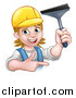 Vector Illustration of a Cartoon Happy White Female Window Cleaner in Blue, Pointing and Holding a Squeegee by AtStockIllustration