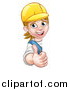 Vector Illustration of a Cartoon Happy White Female Worker Giving a Thumb up Around a Sign by AtStockIllustration