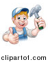 Vector Illustration of a Cartoon Happy White Male Carpenter Holding a Hammer and Giving a Thumb up by AtStockIllustration