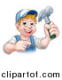 Vector Illustration of a Cartoon Happy White Male Carpenter Holding a Hammer and Pointing by AtStockIllustration