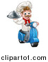 Vector Illustration of a Cartoon Happy White Male Chef, Holding a Cloche on a Delivery Scooter by AtStockIllustration