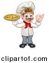 Vector Illustration of a Cartoon Happy White Male Chef Holding a Pizza and Gesturing Perfect by AtStockIllustration