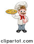 Vector Illustration of a Cartoon Happy White Male Chef Holding a Pizza and Giving a Thumb up by AtStockIllustration