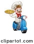 Vector Illustration of a Cartoon Happy White Male Chef Holding a Pizza on a Scooter by AtStockIllustration