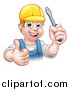 Vector Illustration of a Cartoon Happy White Male Electrician Holding up a Screwdriver and a Thumb by AtStockIllustration