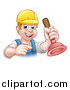 Vector Illustration of a Cartoon Happy White Male Plumber Holding a Plunger and Pointing by AtStockIllustration