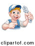 Vector Illustration of a Cartoon Happy White Male Plumber Holding an Adjustable Wrench and Pointing by AtStockIllustration