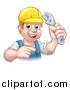 Vector Illustration of a Cartoon Happy White Male Plumber Wearing a Hardhat, Holding an Adjustable Wrench and Pointing by AtStockIllustration