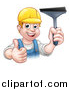 Vector Illustration of a Cartoon Happy White Male Window Cleaner Giving a Thumb up and Holding a Squeegee by AtStockIllustration