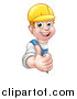 Vector Illustration of a Cartoon Happy White Male Worker Giving a Thumb up Around a Sign by AtStockIllustration