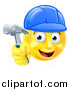 Vector Illustration of a Cartoon Happy Yellow Emoji Smiley Face Emoticon Carpenter Holding a Hammer by AtStockIllustration