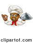 Vector Illustration of a Cartoon Happy Young Black Male Chef Holding a Cloche Platter and Gesturing Ok or Perfect by AtStockIllustration