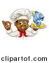 Vector Illustration of a Cartoon Happy Young Black Male Chef Holding a Fish Character and Chips on a Tray by AtStockIllustration