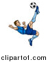 Vector Illustration of a Cartoon Male Soccer Player in a Blue Uniform, Kicking a Ball in Mid Air by AtStockIllustration