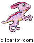 Vector Illustration of a Cartoon Pink Parasaurolophus Dino by AtStockIllustration