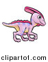Vector Illustration of a Cartoon Pink Parasaurolophus Dinosaur by AtStockIllustration