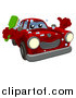 Vector Illustration of a Cartoon Red Car Character Holding a Thumb up and a Scrub Brush by AtStockIllustration