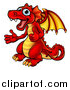 Vector Illustration of a Cartoon Red Dragon Giving Two Thumbs up by AtStockIllustration