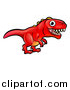 Vector Illustration of a Cartoon Red Tyrannosaurus Rex Dino by AtStockIllustration