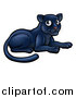 Vector Illustration of a Cartoon Resting Black Panther Big Cat by AtStockIllustration