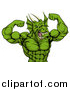 Vector Illustration of a Cartoon Roaring Green Muscular Dragon Man Flexing, from the Waist up by AtStockIllustration