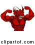 Vector Illustration of a Cartoon Roaring Red Muscular Dragon Man Flexing, from the Waist up by AtStockIllustration