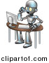 Vector Illustration of a Cartoon Robot Talking on a Cell Phone and Working at a Computer Desk by AtStockIllustration