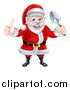 Vector Illustration of a Cartoon Santa Giving a Thumb up and Holding a Garden Trowel 2 by AtStockIllustration
