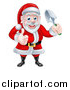 Vector Illustration of a Cartoon Santa Giving a Thumb up and Holding a Garden Trowel by AtStockIllustration