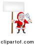 Vector Illustration of a Cartoon Santa Holding a Blank Sign and Garden Fork 2 by AtStockIllustration