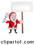Vector Illustration of a Cartoon Santa Holding a Blank Sign and Garden Fork by AtStockIllustration