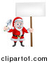 Vector Illustration of a Cartoon Santa Holding a Garden Trowel and Blank Sign by AtStockIllustration