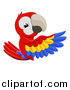 Vector Illustration of a Cartoon Scarlet Macaw Parrot Pointing Around a Sign by AtStockIllustration