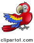 Vector Illustration of a Cartoon Scarlet Macaw Parrot Presenting to the Left by AtStockIllustration