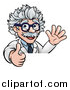 Vector Illustration of a Cartoon Senior Male Scientist Giving a Thumb up and Waving over a Sign by AtStockIllustration