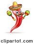 Vector Illustration of a Cartoon Spicy Hot Red Chili Pepper Mascot Wearing a Sombrero Hat and Shaking Mexican Maracas by AtStockIllustration