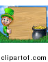 Vector Illustration of a Cartoon St Patricks Day Leprechaun Giving a Thumb up Around a Wood Sign with a Pot of Gold by AtStockIllustration