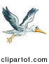 Vector Illustration of a Cartoon Stork Bird in Flight by AtStockIllustration