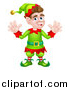 Vector Illustration of a Cartoon Welcoming Brunette White Male Christmas Elf Waving with Both Hands by AtStockIllustration