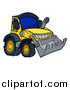 Vector Illustration of a Cartoon Yellow Bulldozer by AtStockIllustration