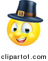 Vector Illustration of a Cartoon Yellow Pilgrim Smiley Face Emoji Emoticon by AtStockIllustration