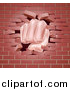 Vector Illustration of a Caucasian Fist Punching Through a 3d Red Brick Wall by AtStockIllustration