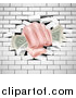Vector Illustration of a Caucasian Hand Fisted and Holding Cash Money, Breaking Through a White Brick Wall by AtStockIllustration