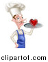 Vector Illustration of a Caucasian Male Chef with a Curling Mustache, Holding a Heart on a Tray by AtStockIllustration