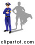 Vector Illustration of a Caucasian Male Police Officer Standing with Folded Arms and a Super Hero Shadow by AtStockIllustration